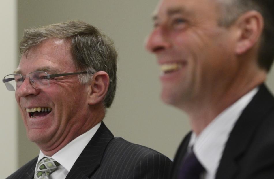 Retiring Otago Regional Council chief executive Graeme Martin (left) and chairman Stephen...