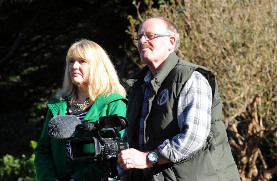 Robert and Christine Brown, from Wildfilm New Zealand, film Clydesdale horses during the recent...