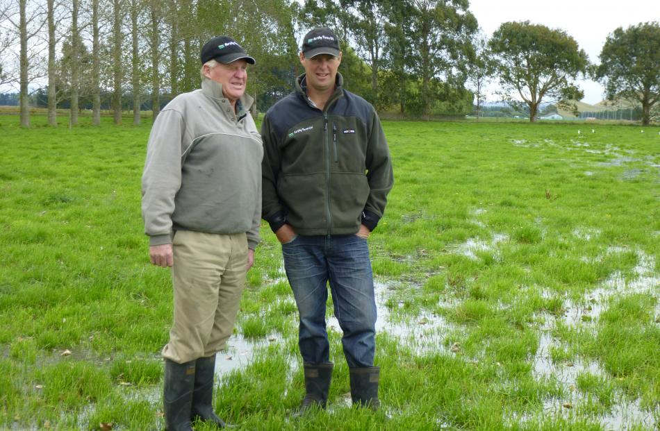 Robin Murphy (left) and son Bruce, who share in the running of the family dairy farming business ...