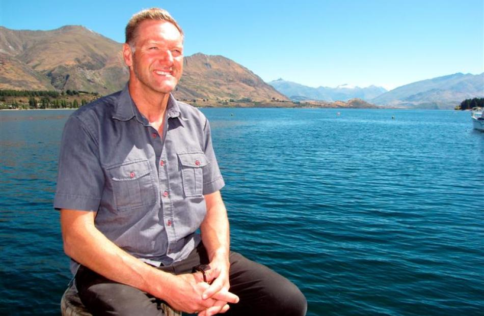 Roger North (47) reflects on swimming almost the length of Lake Wanaka on Tuesday. Photo by Lucy...