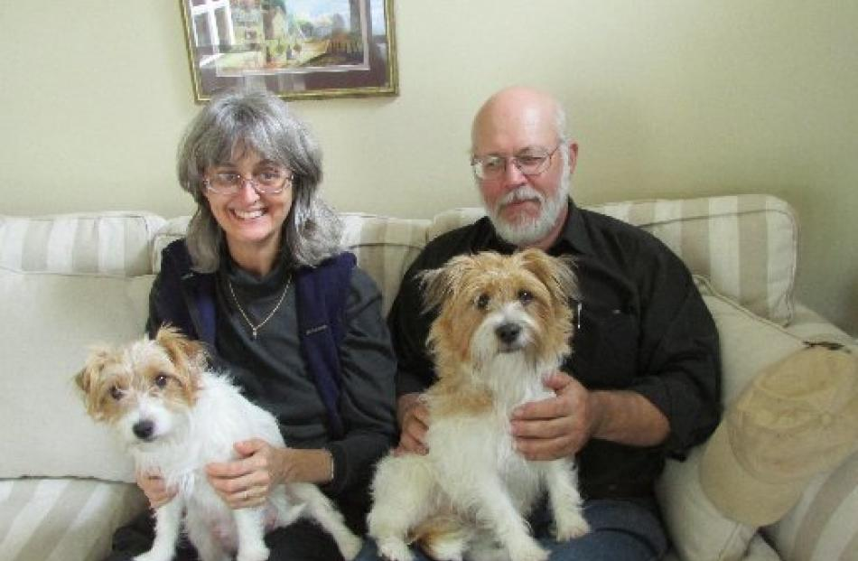 Safety for small dogs . . . Deborah Mills and James Stewart,