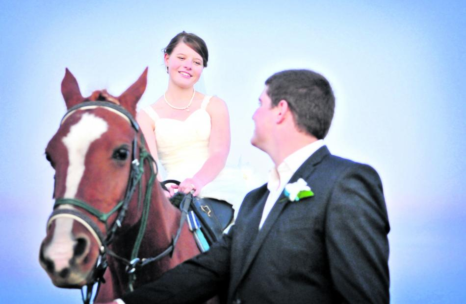 Samantha and Nathanael Thoms, who were married in April at Maple Glen Gardens, Southland, take an...
