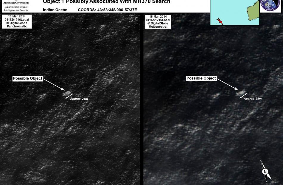 Satellite imagery of objects that may be possible debris of the missing Malaysia Airlines Flight...