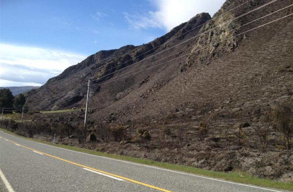 Scorched land in the aftermath of the blaze. Photo Lucy Ibbotson