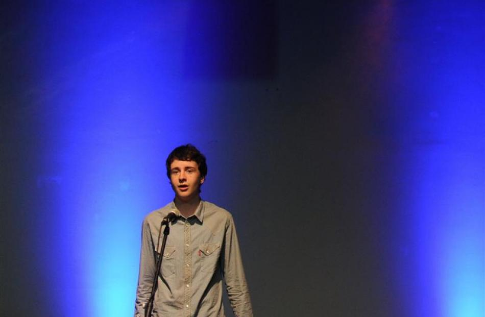Scott Christie (14) performs It's Hard to Speak My Heart, at the Taieri Youth Showcase in Mosgiel...
