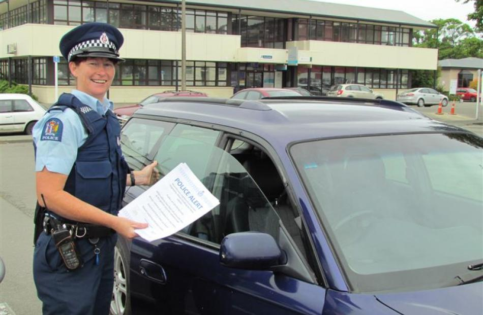 Senior Constable Carrie Hamilton finds a car left unlocked in Oamaru during an information drive...