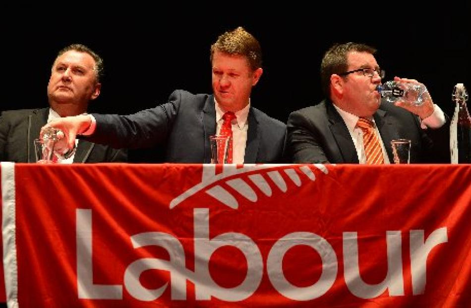 Shane Jones (from left), David Cunliffe and Grant Robertson at the leadership meeting in Dunedin...