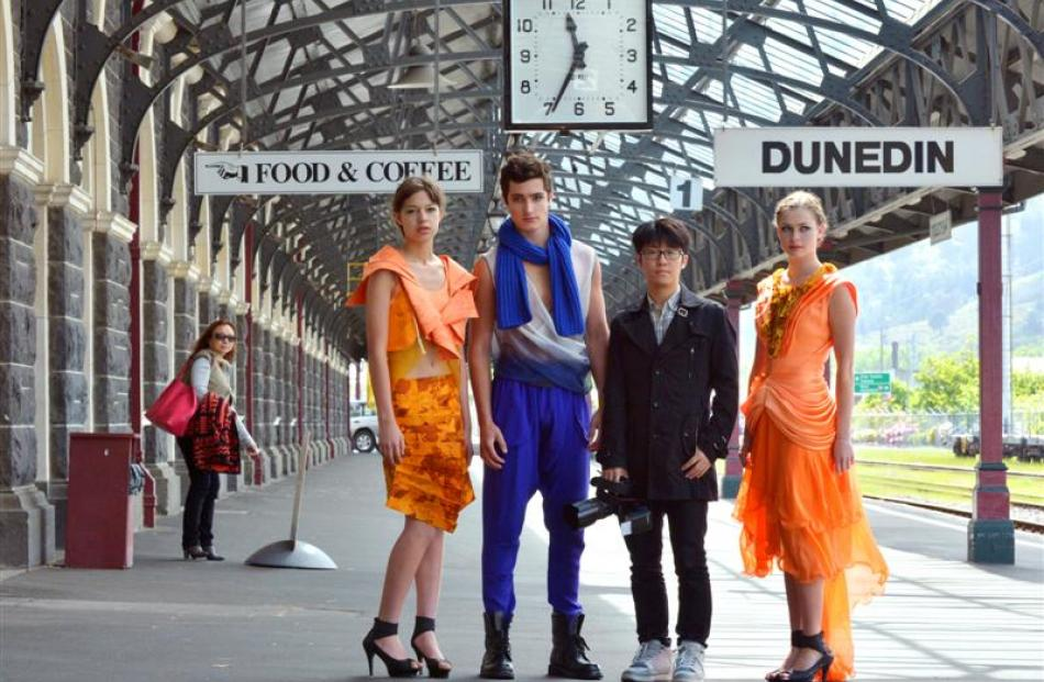 Shanghai fashion student Eric Xuweyu (20, second from right) with Ali McD models Amber Naenna (15...