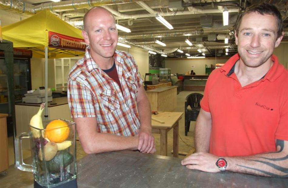 Shotover Markets business partners  Paul Clark (left) and David Thomson take a break from last...
