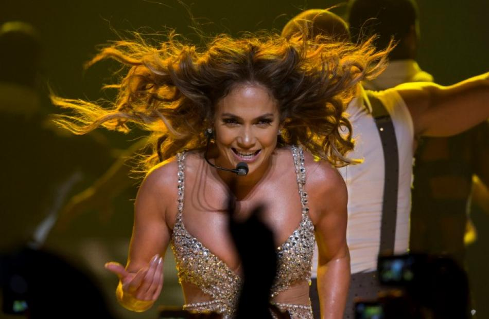 Singer Jennifer Lopez performs during a concert that is part of her 'Dance Again World Tour' in...