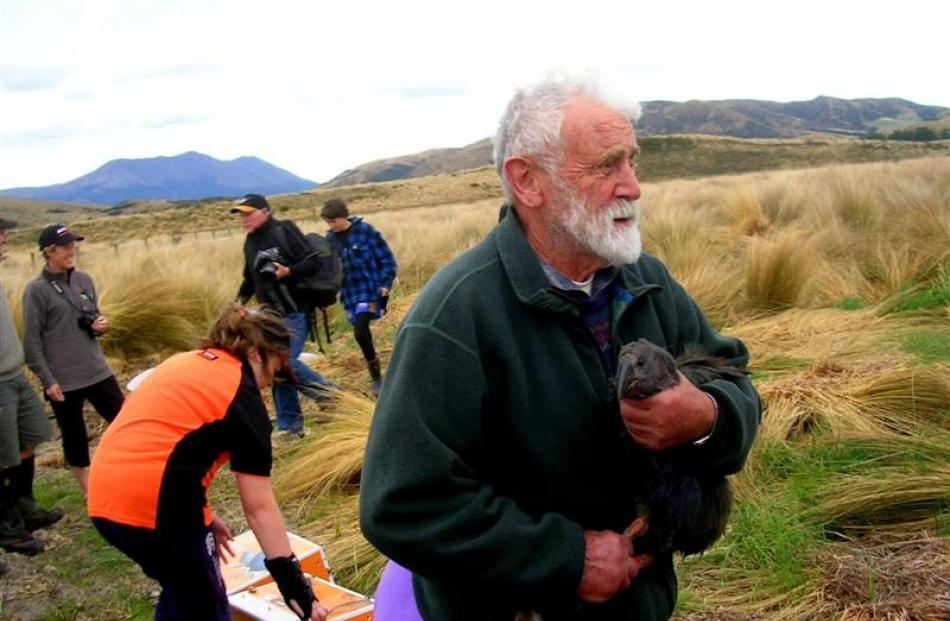 Sir Alan helps relocate birds before the opening of the takahe captive rearing area at the...