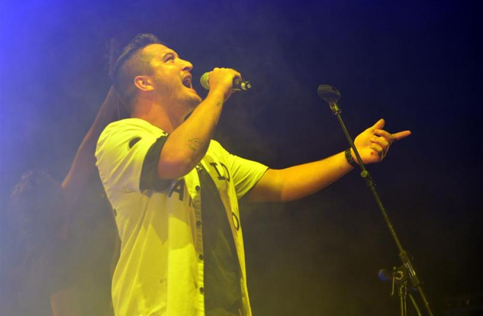 Six60 singer Matiu Walters performs to about 6500 people at an O-Week gig at Forsyth Barr Stadium...