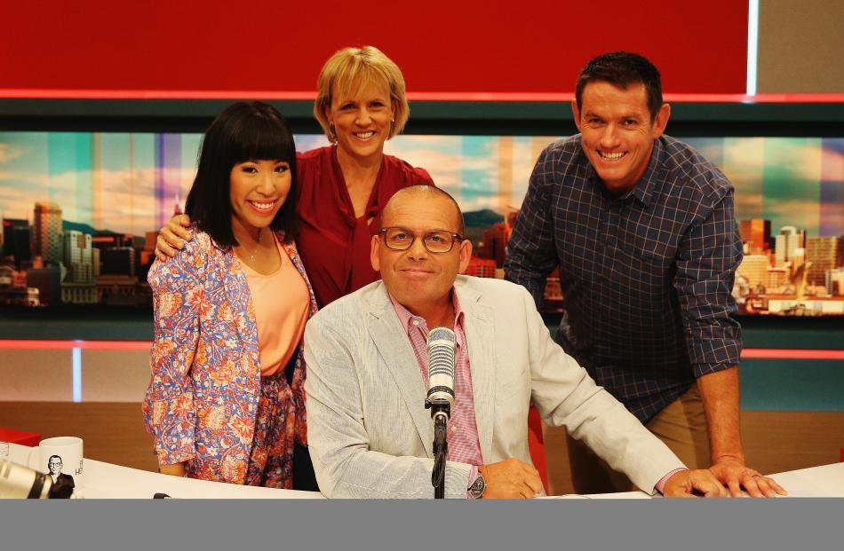 Social media presenter Perlina Lau, news presenter Hilary Barry, sports presenter Jim Kayes and...
