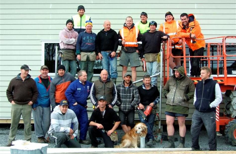 Some of the many volunteers who worked on the house at the Kaitangata Rugby Grounds this weekend....
