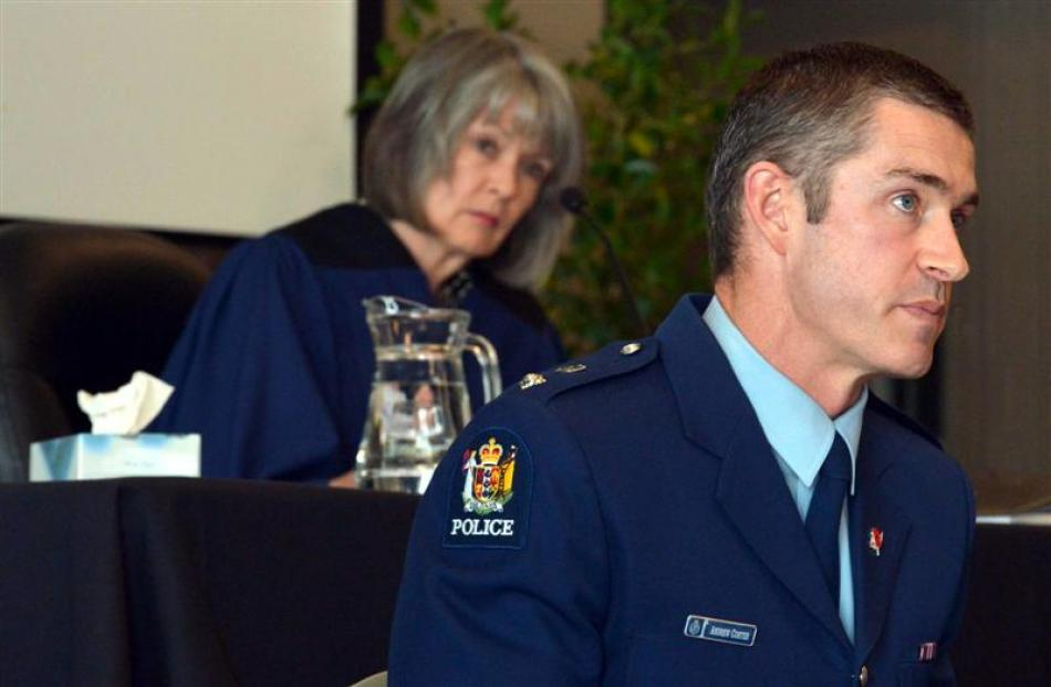 Southern district commander Superintendent Andrew Coster gives testimony yesterday during the...