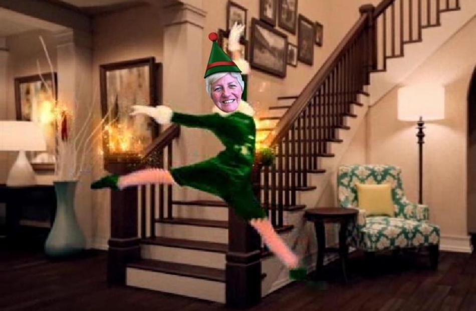 Southern District Health Board chief executive Carole Heatly's face superimposed on to an elf in...