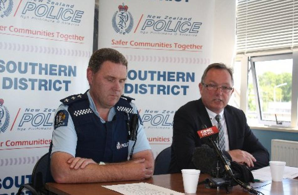 Southland Area Commander Inspector Lane Todd (left) and Southern District Police organised crime...