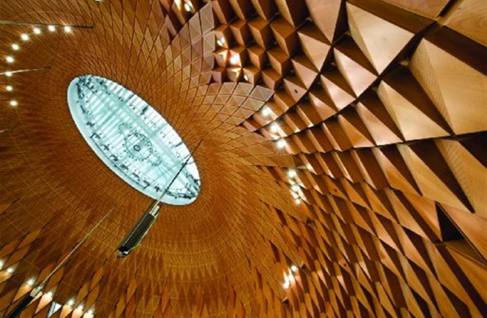 Southland beech panels below the kauri cone of the Supreme Court in Wellington. Photos supplied.
