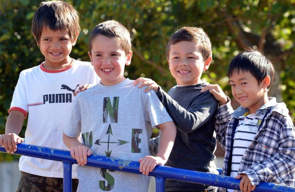 St Clair School pupils (from left) Liam Rua (7), Sam Stainer (7), Phoenix Mao (6) and Edwin Zhen ...