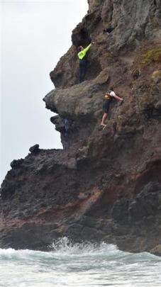 St Clair surf life-saver Rhys McAlevey (top) reaches out to dog Molly up a cliff at Smaills Beach...