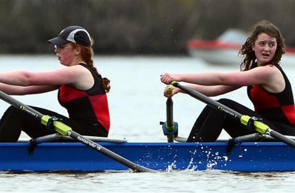 St Hilda's Collegiate School rowers Eliza Adams (left) and Tessa Read (both 15) win the under-15...