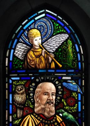 St Paul (Paul the Apostle) is portrayed using the likeness of the Bishop of the Anglican Diocese...