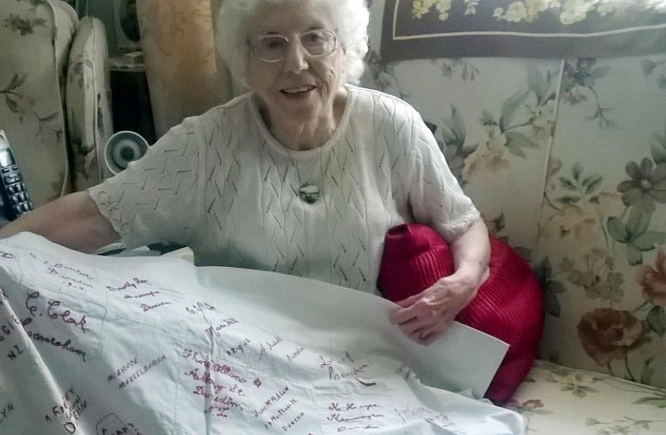 Stella Bessell with the quilt which had been in her family's possession for nearly 100 years....