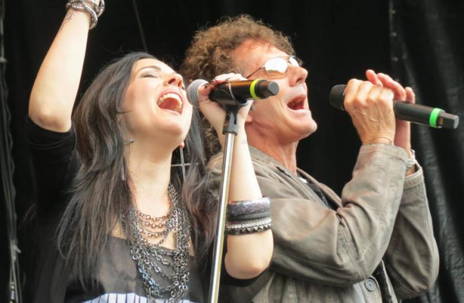 Stephanie Calvert and Mickey Thomas of Starship sang the crowd favourite We Built This City  at...