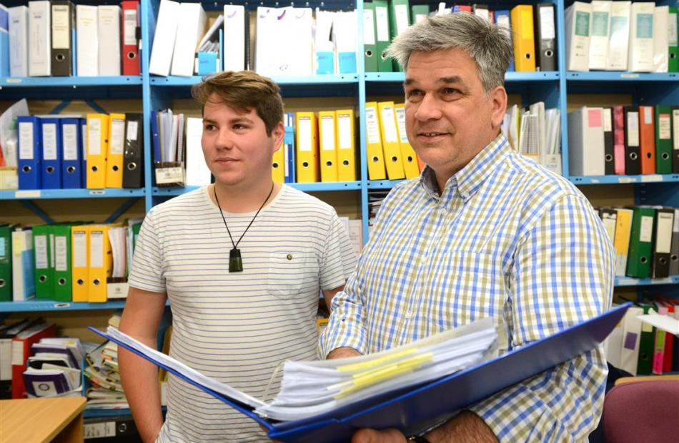 Student investigator Jordan Tewhaiti-Smith (19, left) and Associate Prof Michael Schultz look at...