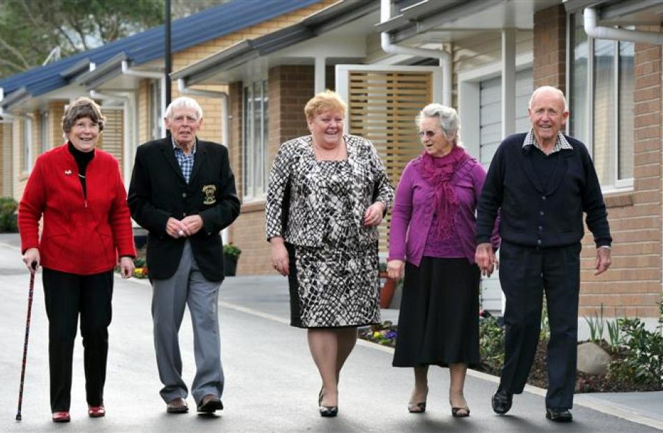 Summerset chief executive Norah Barlow (centre) with Summerset at Bishopscourt residents (from...