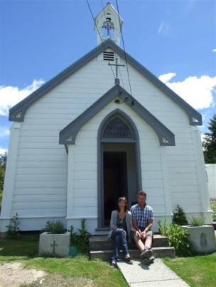 Susie Farrell and Phil Flanagan outside the former Catholic church in Naseby they transformed...