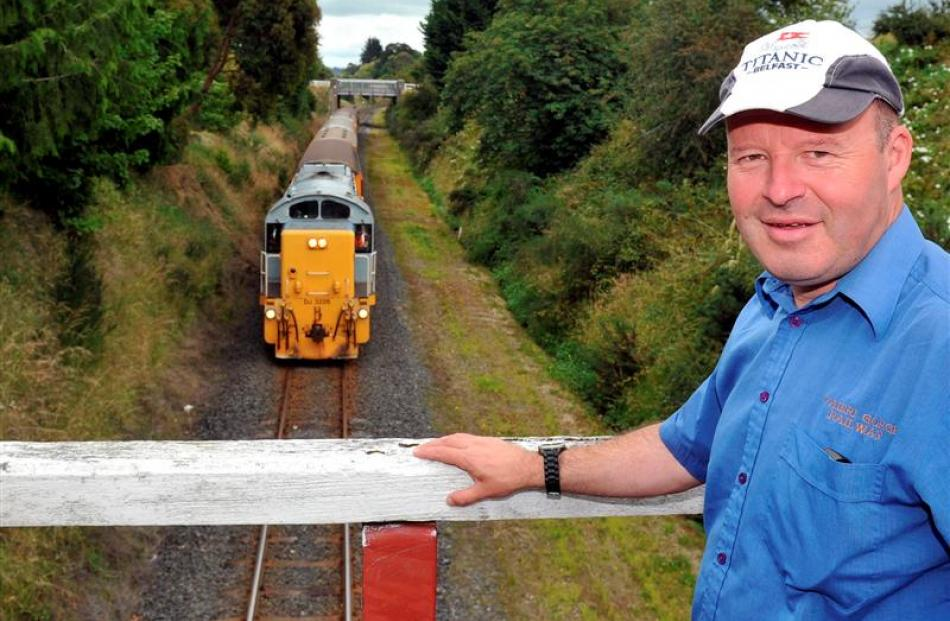 Taieri Gorge co-driver Paul Jeffery stands on an Abbotsford rail bridge where live eels have been...