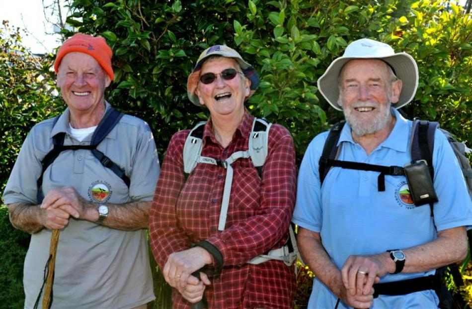 Taieri Recreational Tramping Club members  (from left) Fred Deans, Judy Knox and Ian Fleming love...