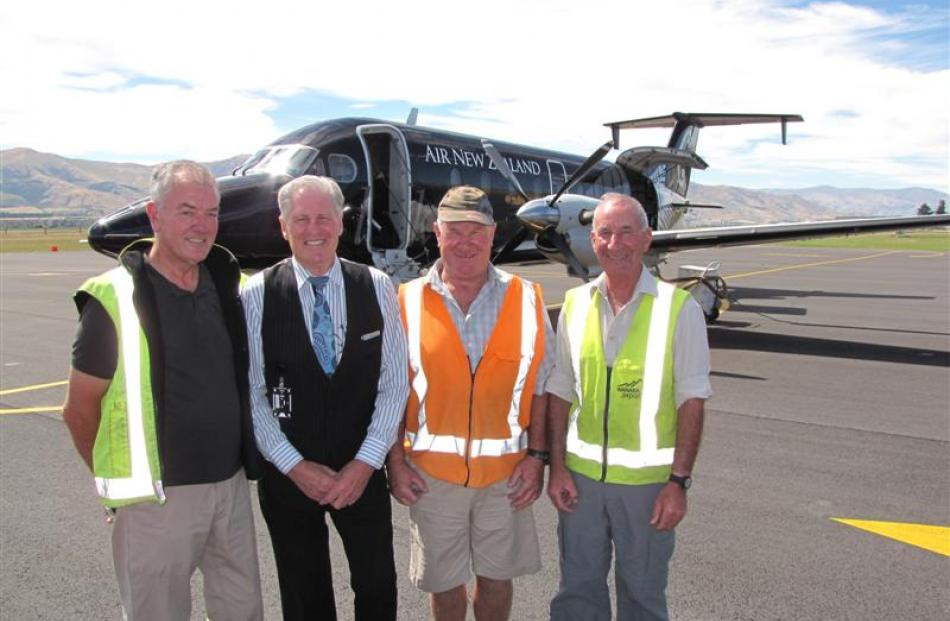 Taking stock before the last Eagle Air flight departs from Wanaka Airport yesterday are ground...