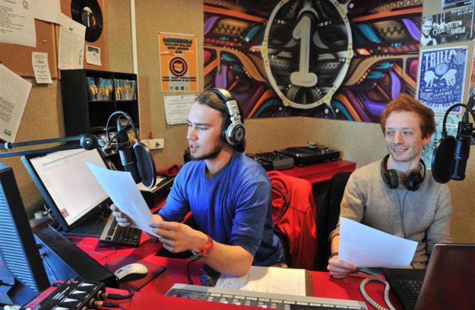 Tama Braithwaite-Westoby (left) and Ben Wandivinit launch International Languages Week at Otago...