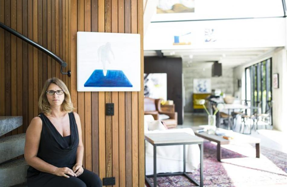 Teresa H. R. Lane in her new ''concrete'' home in Freeman's Bay, Auckland. Photo by John Crawford.