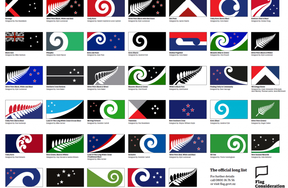 The 40 final flags selected by the committee. Photo supplied.