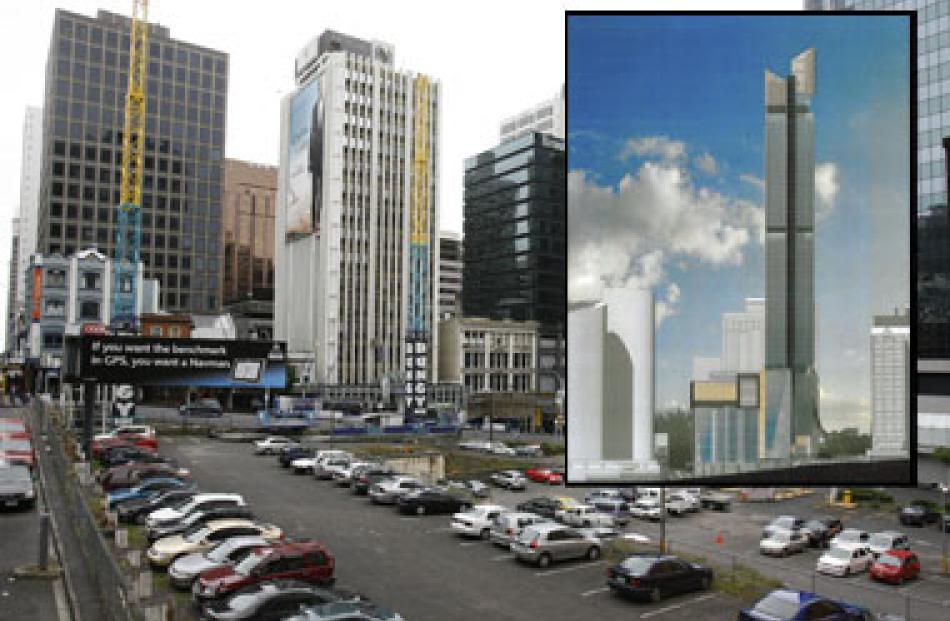 The 52-level tower, inset, is due to go up on this CBD site, left vacant since the 1980s.