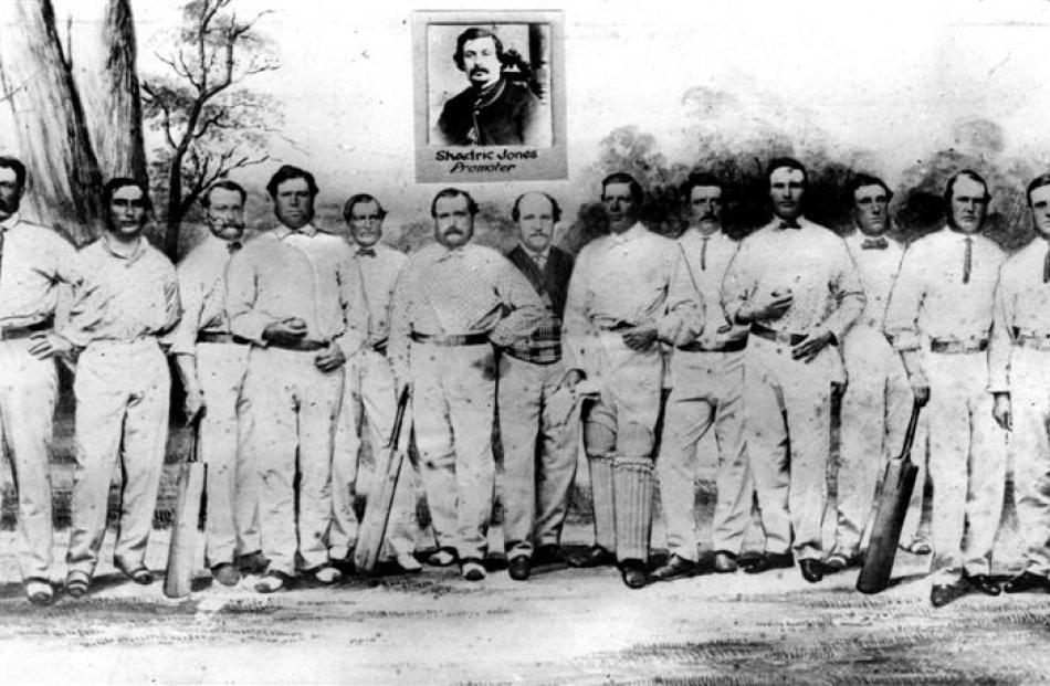 The All England XI, with a portrait of promoter Shadrach Jones inset (his name is spelled...
