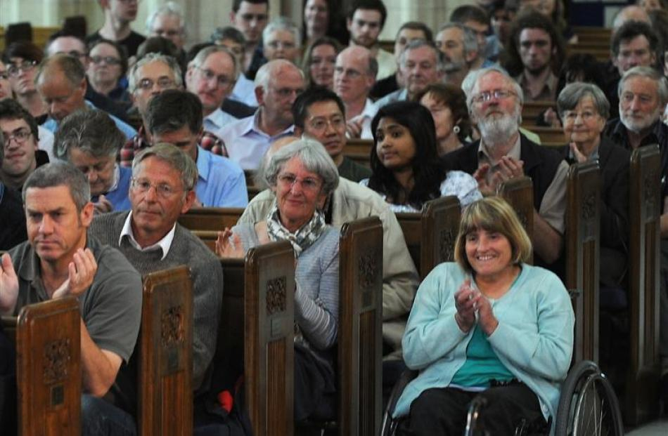 The audience at a debate on asset sales at St Paul's Cathedral in Dunedin last night. Photos by...