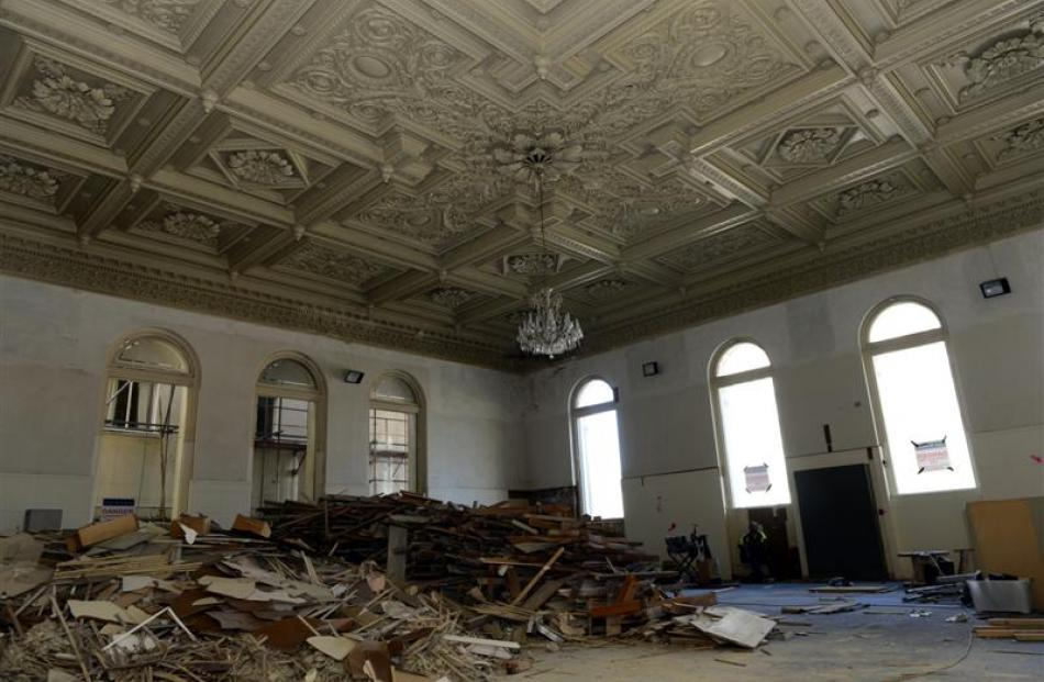 The bank chamber of the 130-year-old former Bank of New Zealand building, in Princes St, Dunedin,...
