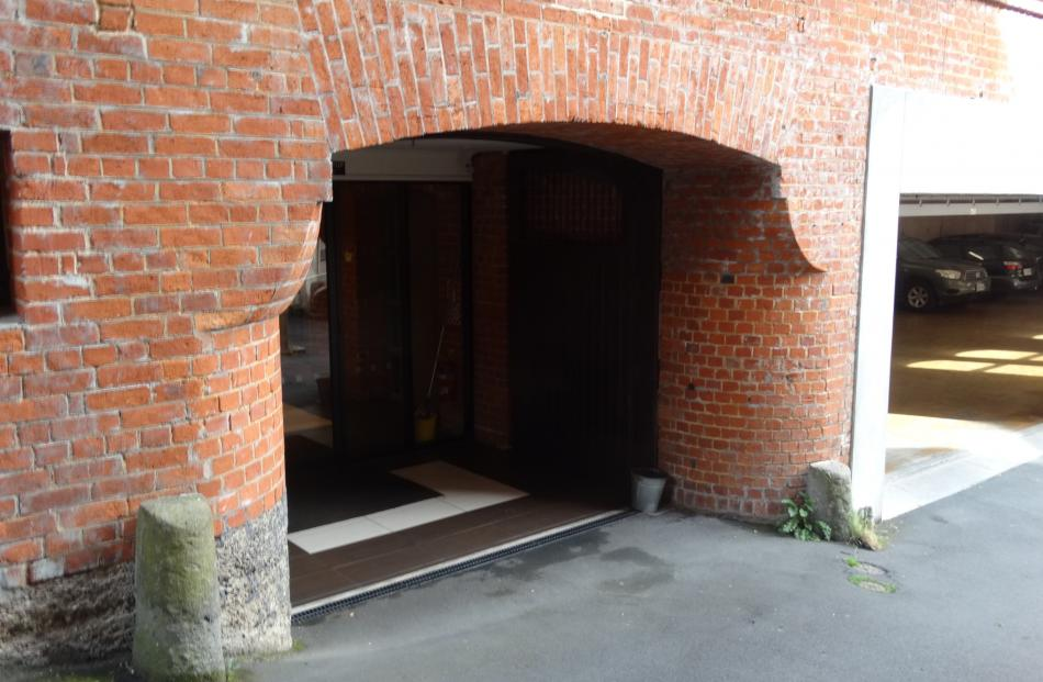 The basement entrance to the Bracken Court building. Photo by Peter Entwisle.