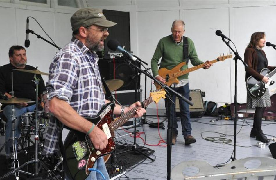The Bats - (from left)  Malcolm Grant on drums, Robert Scott on guitar, Paul Kean on bass and...