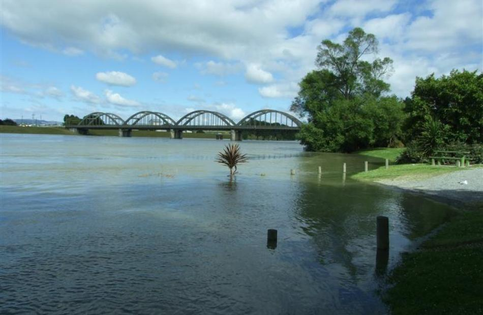 The Clutha River spills into a picnic area on Hasborough Pl,  Balclutha, yesterday. Photo by...