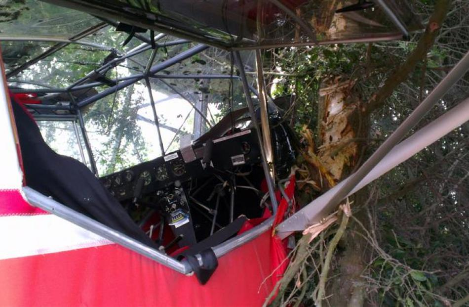 The cockpit of the microlight after the crash. Photos by David Bruce.