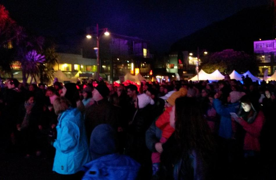 The crowd enjoy the opening night of the Queenstown Winter Festival. Photo by Liam Cavanagh