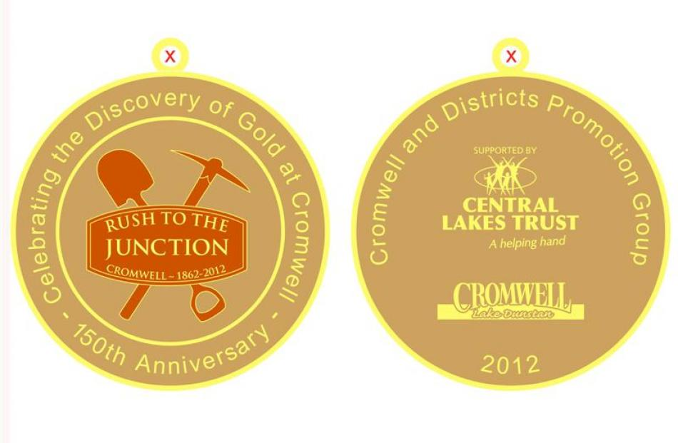 The design for the proposed medallion to mark the 150th anniversary of the discovery of gold in...