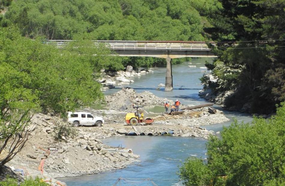 The development of a whitewater kayaking course is well under way on the Hawea River,  upstream...