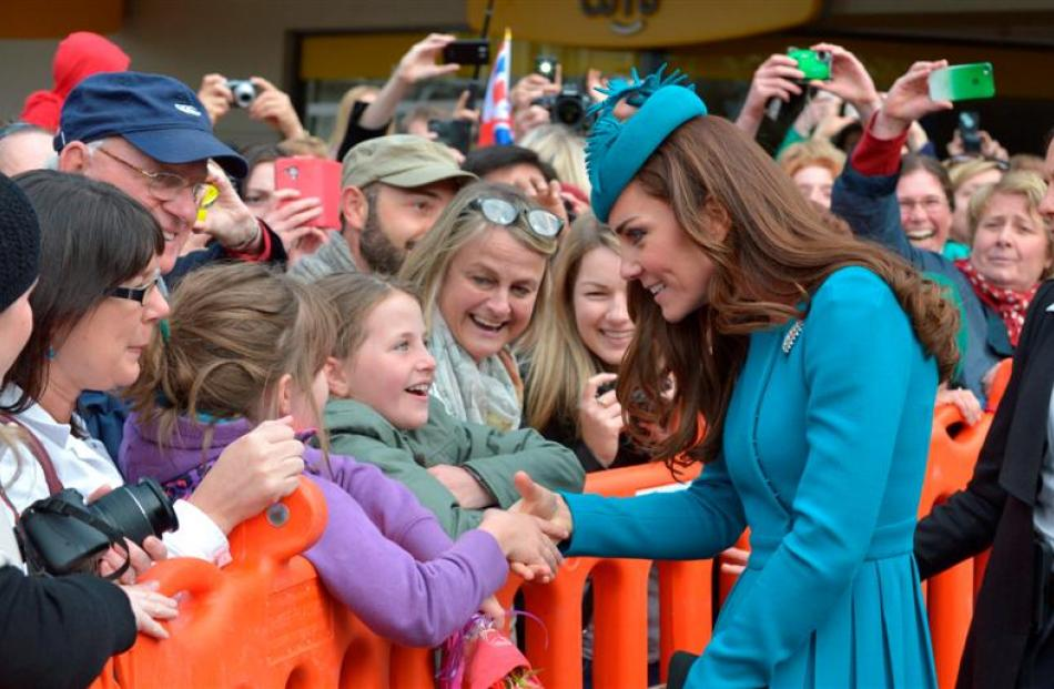 The Duchess of Cambridge greets well-wishers in the Octagon. Photo by Gerard O'Brien