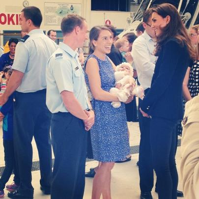 The Duchess of Cambridge meets families at Whenuapai Air Base. Photos Twitter/@GovGeneralNZ